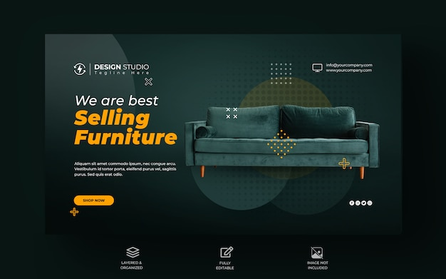 Furniture sale web banner template design