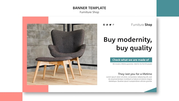 Furniture shop concept banner template