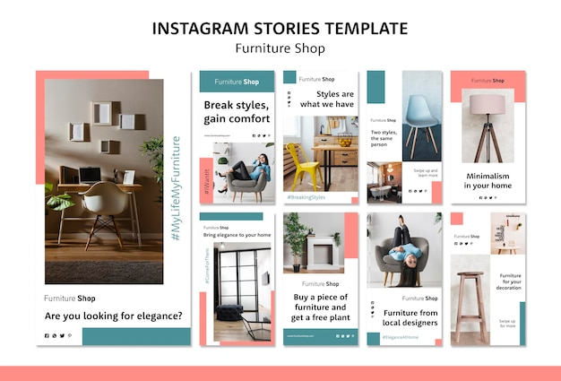 Furniture shop concept instagram stories template