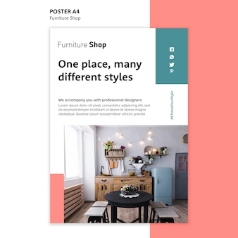 Furniture shop concept poster template