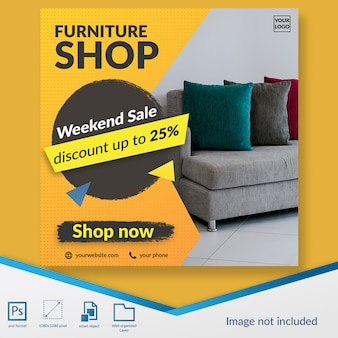 Furniture shop weekend sale discount offer social media post template banner