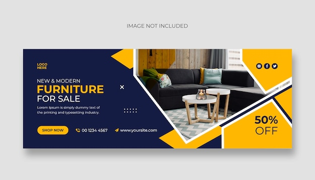 Furniture social media facebook cover and web banner template