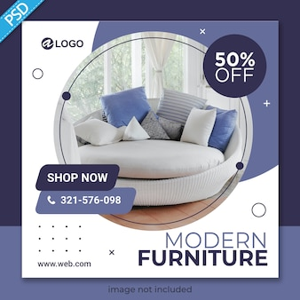 Furniture for social media post banner template