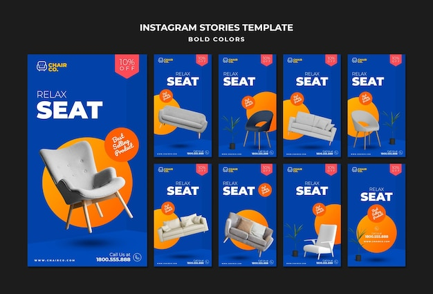 Furniture store instagram stories template
