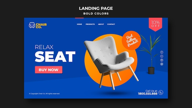 Furniture store landing page template