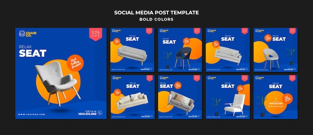 Furniture store social media post template