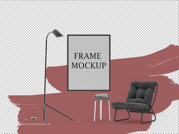 Furniture and wall frame 3d mockup