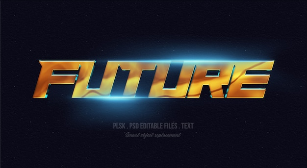 Future 3d text style effect mockup with lights