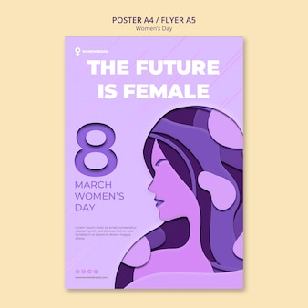 Future is female women's day poster template