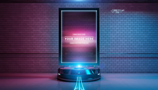 Futuristic billboard intunnel tube station mockup