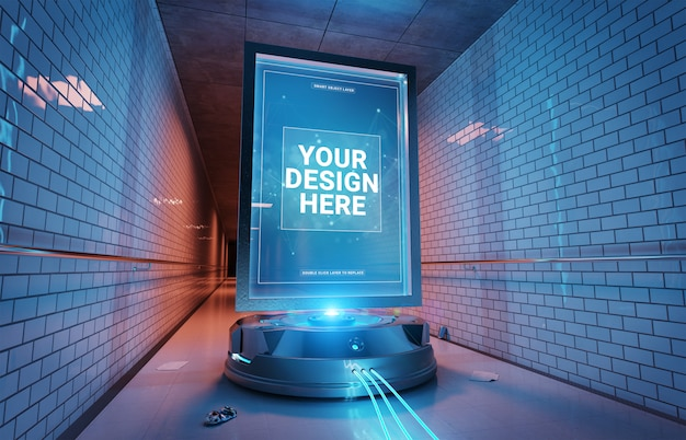 Futuristic billboard in underground tunnel mockup