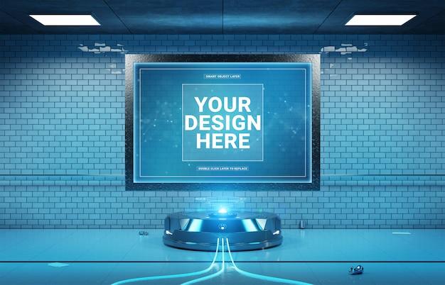 Futuristic billboard in underground tunnel mockup