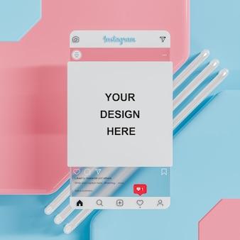 피드 프레젠테이션 3d 렌더링을 위해 파란색 배경에 미래 지향적인 instagram 소셜 미디어 게시물 모형