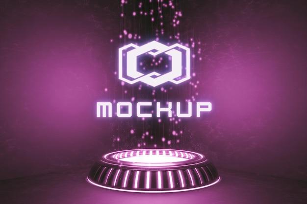 Futuristic logo effect 3d rendered