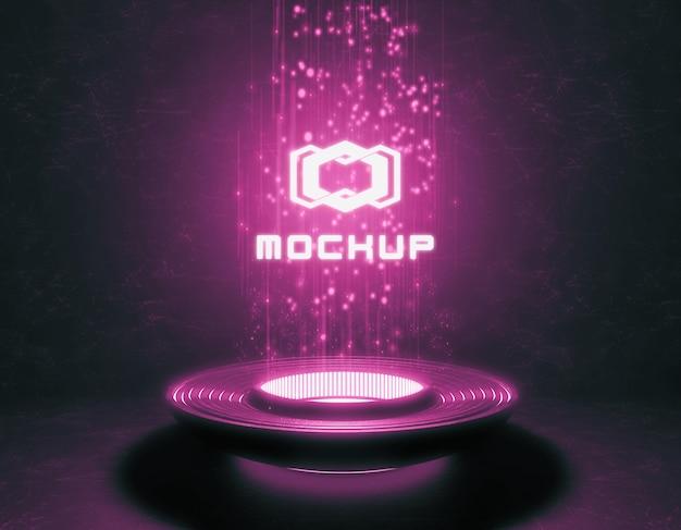 Mock-up di logo futuristico in luci intense