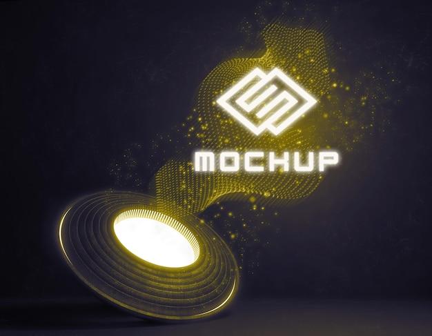 明るい光の中で未来的なロゴのモックアップ