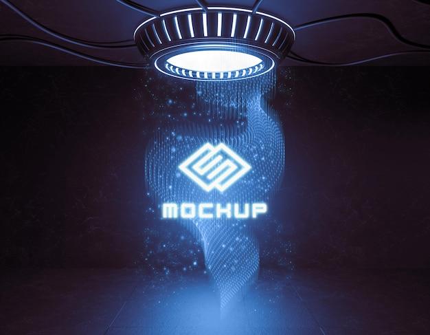ネオンライトの未来的なロゴのモックアップ 無料 Psd