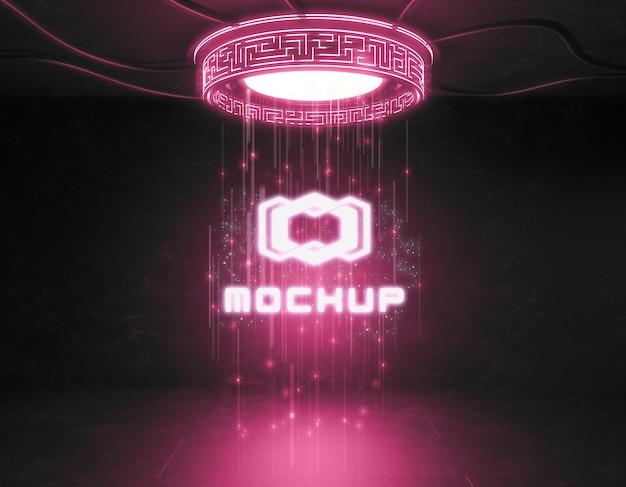 ネオンライトの未来的なロゴのモックアップ