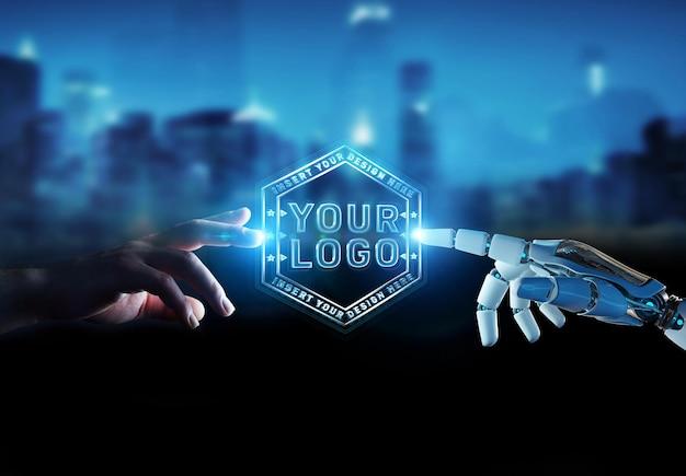Футуристический логотип с роботом и человеческими руками mockup