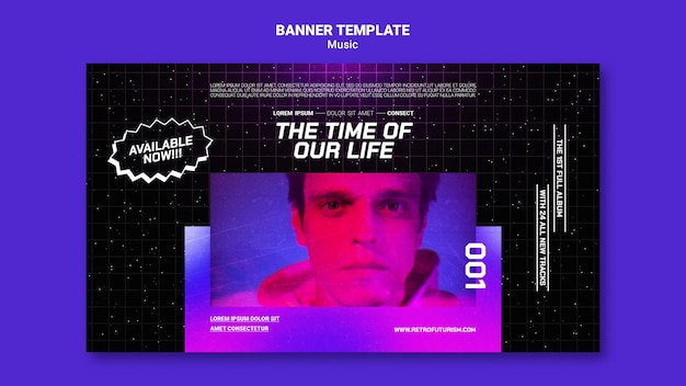 Modello di banner musicale futuristico