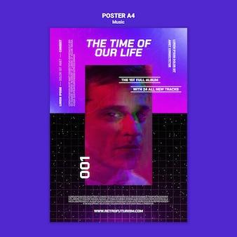 Modello di poster di musica futuristica
