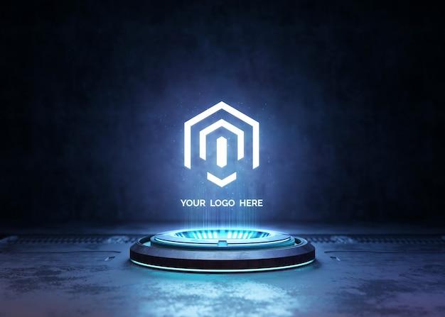 Futuristic pedestal for logo mockup