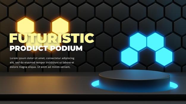 Futuristic podium stage template, 3d rendering