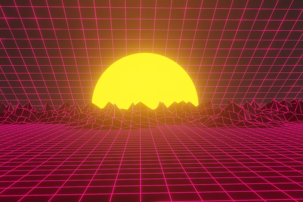 Futuristic sci-fi landscape background with purple neon light
