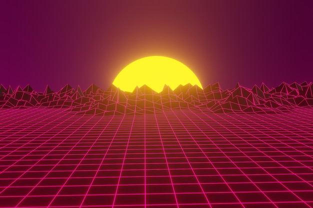 Futuristic sci-fi landscape background with purple neon
