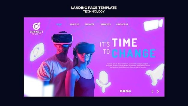 未来的な仮想現実のランディング ページ テンプレート