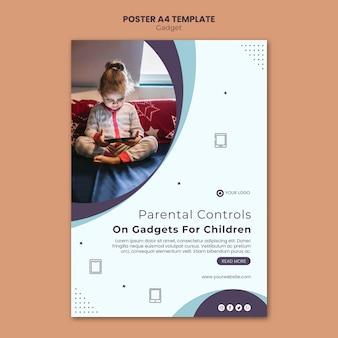 Gadget impact on kids poster template design