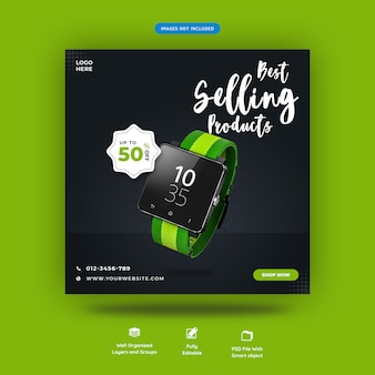 Gadgets square social media post template premium psd