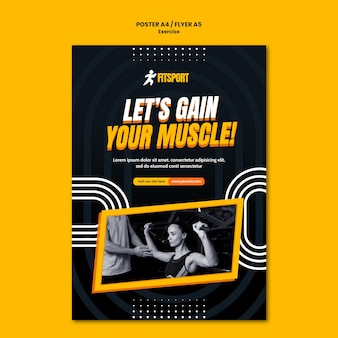 Gain muscle poster template