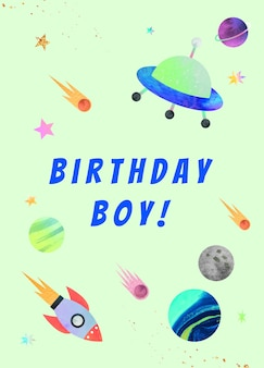 Galaxy birthday greeting template psd for boy