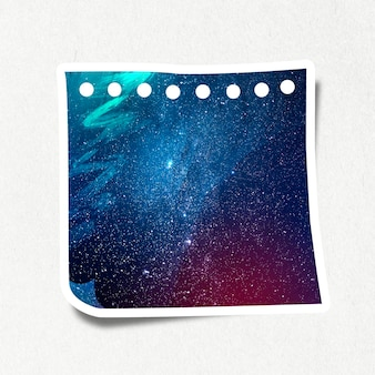 Galaxy patterned paper note design element