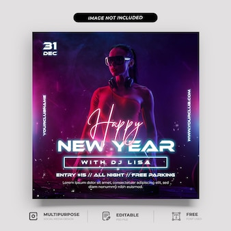 Galaxy style new year party social media post template