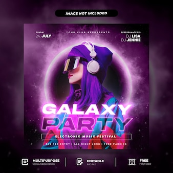 Galaxy style night club party social media post template