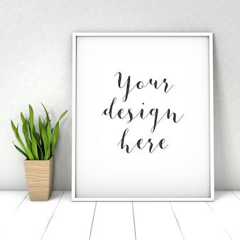 Gallery frame mockup wit plant