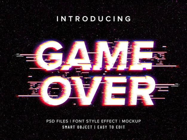 Game over glitch font style effect template