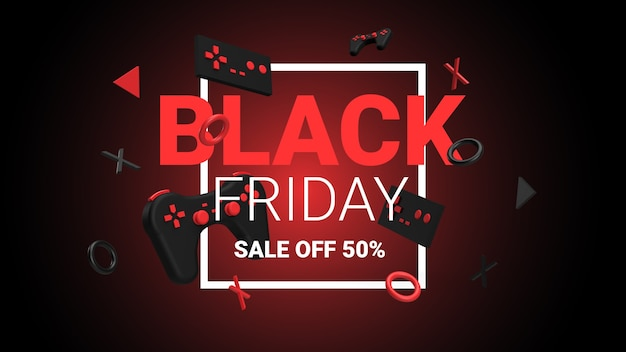Game sale black friday banner concept with 3d rendered image
