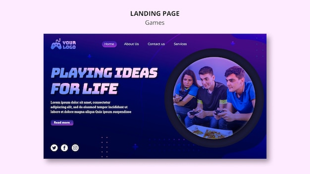 Game spot landing page template