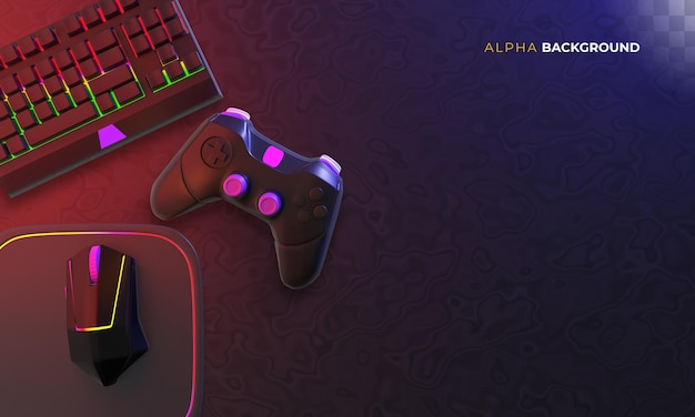 Gamer background with accessories
