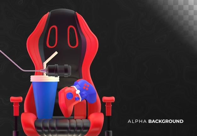 Sfondo di elementi del giocatore su sfondo scuro. illustrazione 3d