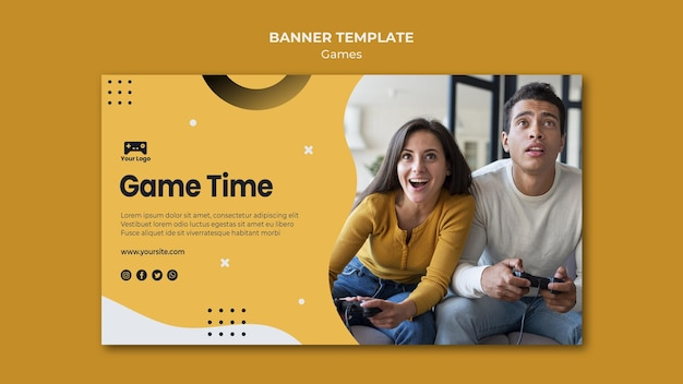 Games banner template theme