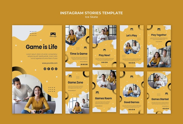 Games instagram stories template theme