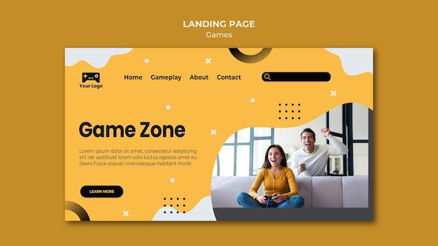 Games landing page web template design