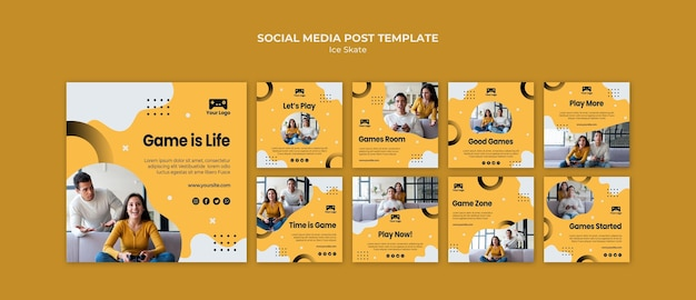 Games social media post template theme