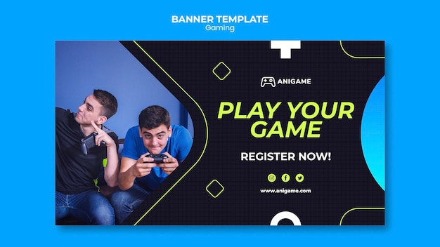 Gaming concept banner template design