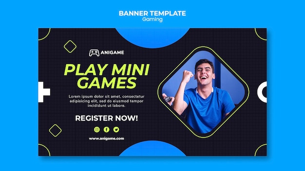 Gaming concept banner template style