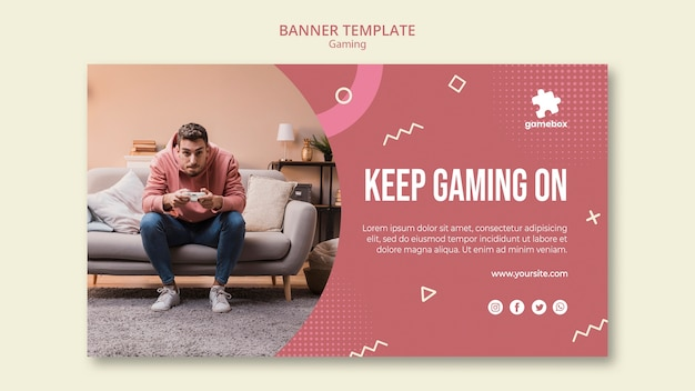 Gaming concept banner template